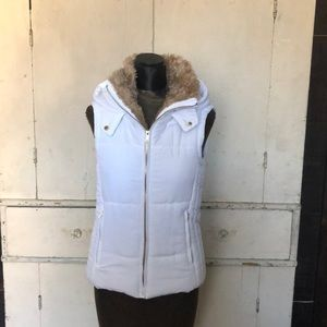 White and Shearling Puffer Vest